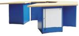 00853711 Stół wyspowy 5-stanowiskowy, 2 drzwi, 12 szuflad (wymiary: 3000x2600x900 mm)
