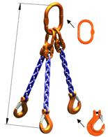 33948225 Zawiesie łańcuchowe trzycięgnowe klasy 10 miproSling HCS 40,0/28,0 (długość łańcucha: 1m, udźwig: 28-40 T, średnica łańcucha: 22 mm, wymiary ogniwa: 350x190 mm)