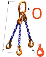 33948275 Zawiesie łańcuchowe trzycięgnowe klasy 10 miproSling KLHW 21,2/15,0 (długość łańcucha: 1m, udźwig: 15-21,2 T, średnica łańcucha: 16 mm, wymiary ogniwa: 260x140 mm)