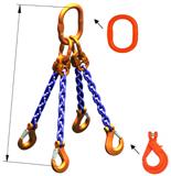 33948298 Zawiesie łańcuchowe czterocięgnowe klasy 10 miproSling KLHW 8,0/6,0 (długość łańcucha: 1m, udźwig: 6-8 T, średnica łańcucha: 10 mm, wymiary ogniwa: 180x100 mm)