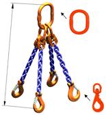 33948312 Zawiesie łańcuchowe czterocięgnowe klasy 10 miproSling WLHW 14,0/10,0 (długość łańcucha: 1m, udźwig: 10-14 T, średnica łańcucha: 13 mm, wymiary ogniwa: 200x110 mm)