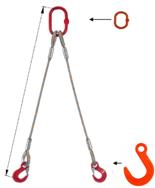 33948374 Zawiesie linowe dwucięgnowe miproSling FW 10,0/7,2 (długość liny: 1m, udźwig: 7,2-10 T, średnica liny: 26 mm, wymiary ogniwa: 230x130 mm)