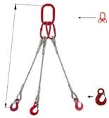 33948414 Zawiesie linowe trzycięgnowe miproSling HE 62,0/44,0 (długość liny: 1m, udźwig: 44-62 T, średnica liny: 52 mm, wymiary ogniwa: 460x250 mm)
