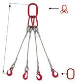 33948493 Zawiesie linowe czterocięgnowe miproSling T 13,5/9,4 (długość liny: 1m, udźwig: 9,4-13,5 T, średnica liny: 24 mm, wymiary ogniwa: 230x130 mm)