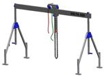 33960017 Wciągarka bramowa aluminiowa z wózkiem pchanym i wciągnikiem łańcuchowym miproCrane DELTA 400H (udźwig: 1500 kg, szerokość: 6100 mm, wysokość: 2700/4400 mm)