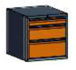 99551572 Szafka typ D, 3 szuflady 250+200+100 (wymiary: 625x600x690 mm)