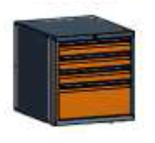 99551574 Szafka typ G, 4 szuflady 250+100+100+100 (wymiary: 625x600x690 mm)