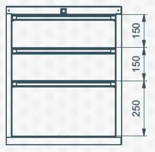 99551627 Szafka typ E, 3 szuflady (wymiary: 625x520x550 mm)