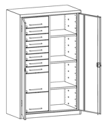 99552502 Szafa warsztatowa, 3 półki, 10 szuflad (wymiary: 1950x1000x500 mm)