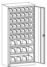 99552519 Szafa warsztatowa, 8 półek, 48 pojemników, 2 drzwi (wymiary: 1950x950x500 mm)