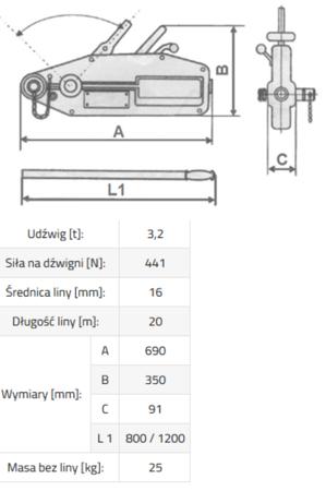 3398492 Wciągnik linowy PWA 3,2 (udźwig: 3,2 T)