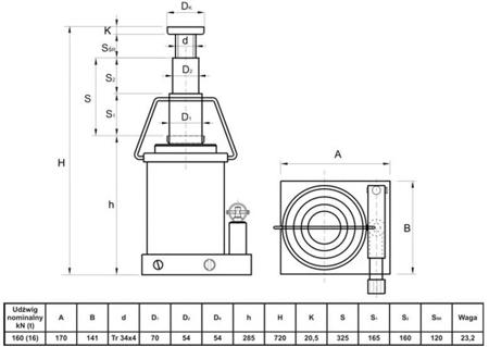 6276340 Podnośnik hydrauliczny teleskopowy - wysoki (wysokość podnoszenia min/max: 285/720mm, udźwig: 16T)
