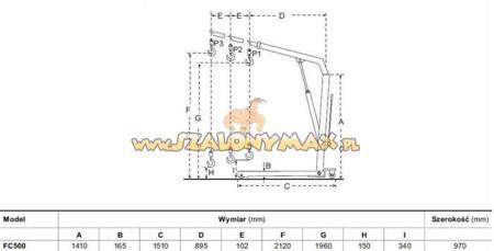 DOSTAWA GRATIS! 310667 Żurawik warsztatowy składany (udźwig: 500 kg)