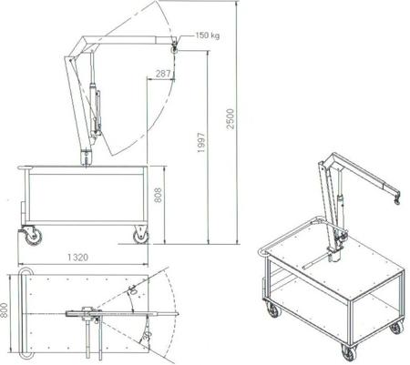 61745542 Stół przesuwny z żurawiem (udźwig: 150 kg)