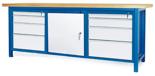 00853670 Stół warsztatowy, 1 drzwi 8 szuflad (wymiary: 2100x900x740 mm)