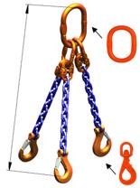 33948285 Zawiesie łańcuchowe trzycięgnowe klasy 10 miproSling WLHW 8,0/6,0 (długość łańcucha: 1m, udźwig: 6-8 T, średnica łańcucha: 10 mm, wymiary ogniwa: 180x100 mm)