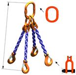 33948315 Zawiesie łańcuchowe czterocięgnowe klasy 10 miproSling KSCHW 5,3/3,75 (długość łańcucha: 1m, udźwig: 3,75-5,3 T, średnica łańcucha: 8 mm, wymiary ogniwa: 160x90 mm)