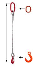 33948346 Zawiesie linowe jednocięgnowe miproSling FW 25,00 (długość liny: 1m, udźwig: 25 T, średnica liny: 48 mm, wymiary ogniwa: 340x180 mm)