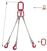 33948439 Zawiesie linowe trzycięgnowe miproSling T 36,0/26,0 (długość liny: 1m, udźwig: 26-36 T, średnica liny: 40 mm, wymiary ogniwa: 350x190 mm)