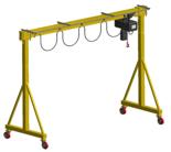 33960158 Wciągarka bramowa skręcana miproCrane DELTA 300 wózkiem, wciągarka elektryczna i wciągnikiem łańcuchowym (udźwig: 1600 kg, rozpiętość: 4000 mm, wysokość podnoszenia: 4000 mm)