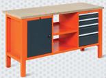 99551621 Stół warsztatowy, 4 szuflady, 1 drzwi, półka (wymiary: 850-900x1765x620 mm)