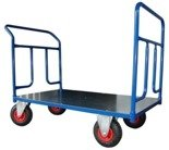 DOSTAWA GRATIS! 13340617 Wózek platformowy ręczny dwuburtowy (koła: pneumatyczne 225 mm, nośność: 250 kg, wymiary: 1200x700 mm)