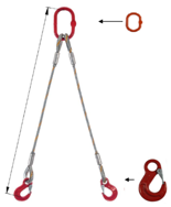 DOSTAWA GRATIS! 33948365 Zawiesie linowe dwucięgnowe miproSling HE 15,0/11,0 (długość liny: 1m, udźwig: 11-15 T, średnica liny: 32 mm, wymiary ogniwa: 275x150 mm)