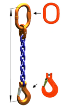 DOSTAWA GRATIS! 33971824 Zawiesie łańcuchowe jednocięgnowe klasy 10 miproSling KHSW 26,5 (długość łańcucha: 1m, udźwig: 26,5 T, średnica łańcucha: 26 mm, wymiary ogniwa: 340x180 mm)