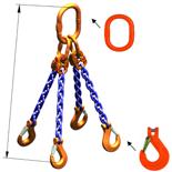 DOSTAWA GRATIS! 33971883 Zawiesie łańcuchowe czterocięgnowe klasy 10 miproSling KHSW 85,0/60,0 (długość łańcucha: 1m, udźwig: 60-85 T, średnica łańcucha: 32 mm, wymiary ogniwa: 460x250 mm)