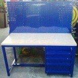 DOSTAWA GRATIS! 77156934 Stół warsztatowy z nadbudową perforowaną, 4 szuflady (wymiary: 1500x600x750 mm)