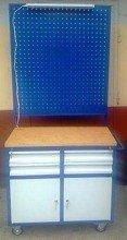 DOSTAWA GRATIS! 77157350 Wózek narzędziowy z tablicą i oświetleniem, 4 szuflady, 2 szafki (wymiary: 900x500x900/1800 mm)