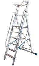 DOSTAWA GRATIS! 99675017 Drabina magazynowa 8 stopniowa KRAUSE z dużą platformą i barierkami