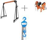 RETOR 558+85071885 Suwnica bramowa, mobilny dźwig portalowy z wózkiem jezdny ręczny z napędem i wciągarką łańcuchową ręczną (udźwig: 2000 kg, wysokość robocza: 2400-3600 mm, szerokość między kolumnami: 2360 mm, wys. podn. wciągarki: 3m)
