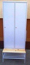 Szafa odzieżowa z przegrodami i ławką, 2 drzwi (wymiary: 2000/1900x800x480 mm) 77157030