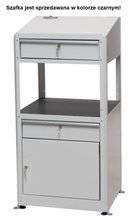 Pulpit warsztatowy na stopkach z szafką i szufladą, kolor czarny (wymiary: 597x1225x527 mm) 00877022