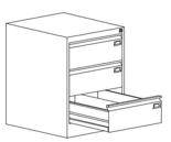 99551772 Szafka kartotekowa 1,0mm, 3 szuflady (wymiary: 715x520x630 mm)