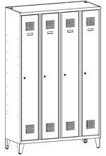99551937 Szafka ubraniowa 0,5mm na nóżkach, 4 drzwi, zamek cylindryczny zamykany w 1 punkcie (wymiary: 1940x1200x500 mm)