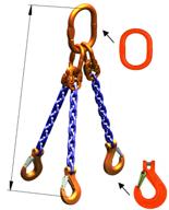 DOSTAWA GRATIS! 33948265 Zawiesie łańcuchowe trzycięgnowe klasy 10 miproSling KHSW 14,0/10,0 (długość łańcucha: 1m, udźwig: 10-14 T, średnica łańcucha: 13 mm, wymiary ogniwa: 200x110 mm)