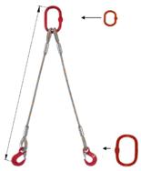 DOSTAWA GRATIS! 33948389 Zawiesie linowe dwucięgnowe miproSling T 29,0/21,0 (długość liny: 1m, udźwig: 21-29 T, średnica liny: 44 mm, wymiary ogniwa: 340x180 mm)