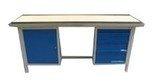 DOSTAWA GRATIS! 77156895 Stół warsztatowy dwustanowiskowy, 4 szuflady, 1 szafka (wymiary: 2000x750x900 mm)