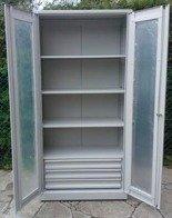 DOSTAWA GRATIS! 77157256 Szafa narzędziowa, przeszklona, 3 półki, 3 szuflady (wymiary: 2000x1000x500 mm)