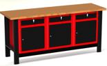 DOSTAWA GRATIS! 87853458 Stół warsztatowy z szafką, 3 szuflady, 3 drzwi - blat ze sklejki (wymiary: 1960x890x600 mm)