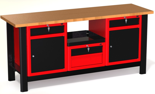 DOSTAWA GRATIS! 87853462 Stół warsztatowy z szafką, 4 szuflady, 2 drzwi - blat pokryty gumą (wymiary: 1960x890x600 mm)