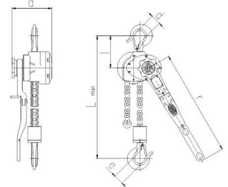 DOSTAWA GRATIS! 2202566 Wciągnik dźwigniowy z łańcuchem sworzniowym RZV/5.0t (wysokość podnoszenia: 1,5m, udźwig: 5 T)