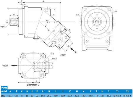 DOSTAWA GRATIS! 01539156 Pompa hydrauliczna tłoczkowa o stałej wydajności Hydro Leduc (obj. geometryczna: 32cm³, prędkość obrotowa: 2500min-1/obr/min)