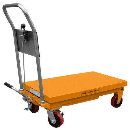 DOSTAWA GRATIS! 02869880 Wózek nożycowy platformowy (udźwig: 300 kg, wymiary platformy: 520x1010 mm, wysokość podnoszenia min/max: 430-1000 mm)