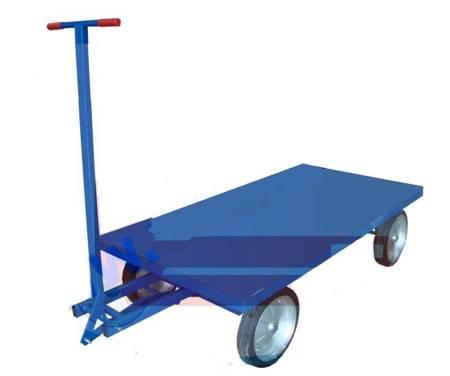 DOSTAWA GRATIS! 13340564 Wózek platformowy ręczny (koła: pełna guma 400 mm, nośność: 1500 kg, wymiary: 1000x2000 mm)