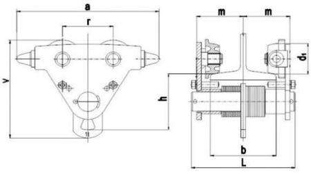 DOSTAWA GRATIS! 2203098 Wózek jedno-belkowy Z420R-B /1.0t (szerokość dwuteownika od: 50-220mm, udźwig: 1 T)