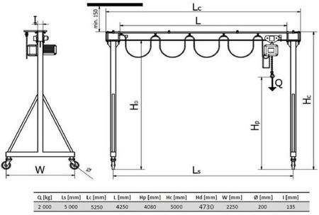 DOSTAWA GRATIS! 33972616 Wciągarka bramowa skręcana miproCrane DELTA 300, wciągnik łańcuchowy elektryczny zintegrowany z wózkiem + kaseta sterująca (udźwig: 2000 kg, wysięg: 5000 mm, wysokość podnoszenia: 4080 mm)