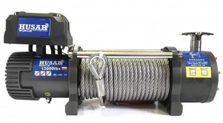 DOSTAWA GRATIS! 51971669 Wyciągarka Husar z liną stalową 24V (uźwig: 13000lbs / 5897 kg, długość liny: 25m)